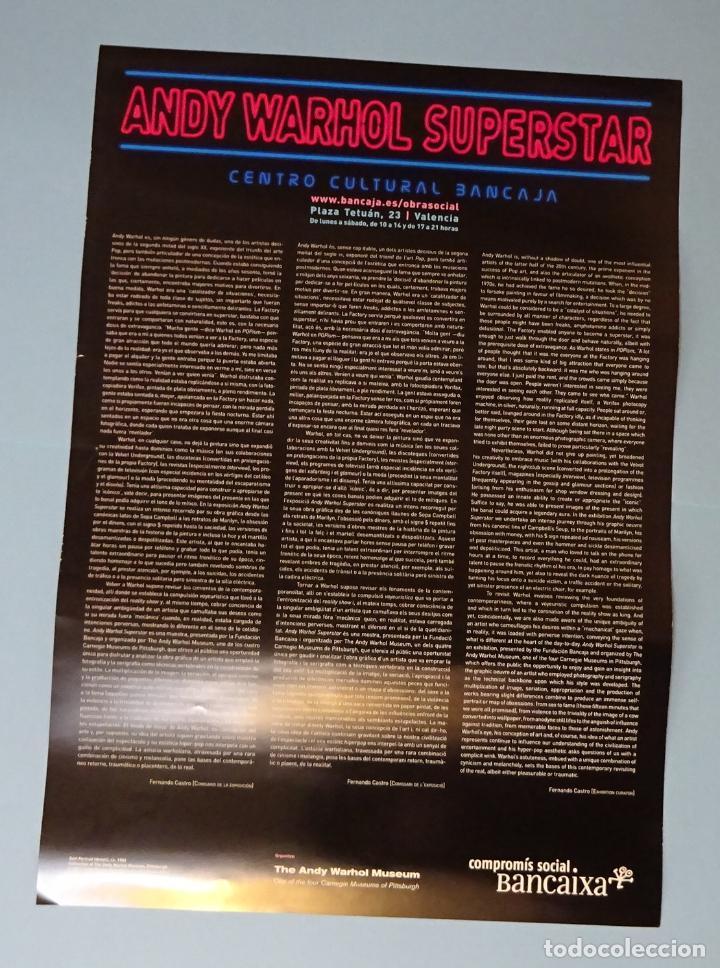 Carteles: CARTEL EXPOSICIÓN ANDY WARHOL SUPERSTAR. CENTRO CULTURAL BANCAJA. VALENCIA - Foto 2 - 251343215