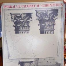 Carteles: CARTEL-PÓSTER DE CAPITELES CORINTIOS GRABADOS POR CLAUDE PERRAULT.EDITORIAL LIDIARTE, 1985. Lote 253261710