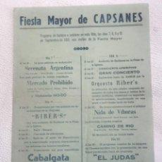 Carteles: CARTEL DE FIESTA MAYOR DE CAPSANES EL PRIORAT TARRAGONA 1952.. Lote 254134010