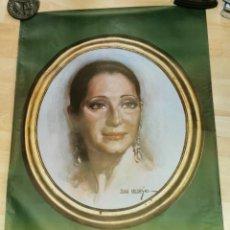 Carteles: ESPECTACULAR CARTEL DE JUANITA REINA DE UNA PINTURA DE JUAN VALDES, 63X95 CMS. Lote 262389555