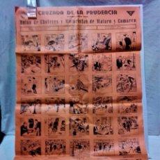 Carteles: CARTEL CRUZADA DE LA PRUDENCIA.UNIÓN CHOFERES Y MOTORISTAS DE MATARÓ Y COMARCA.DIBUJOS OPISSO. Lote 267268004