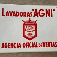 Carteles: LAVADORA AGNI CARTEL METALICO AÑOS 60. Lote 278705398