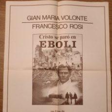 Carteles: CARTEL CINE CRISTO SE PARO EN EBOLI, NO FECHADO, 66 X 50 CM, PLEGADO. Lote 279754248