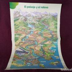 Cartazes: CARTEL DE ESCUELA GRAN FORMATO, VINTAGE, EL PAISAJE Y EL RELIEVE, SANTILLANA, UNOS 100 X 69 CMS.. Lote 286933053