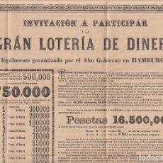 Carteles: CARTEL (44X32,5) GRAN LOTERÍA DE DINERO DE HAMBURGO DE 1896. Lote 295658228