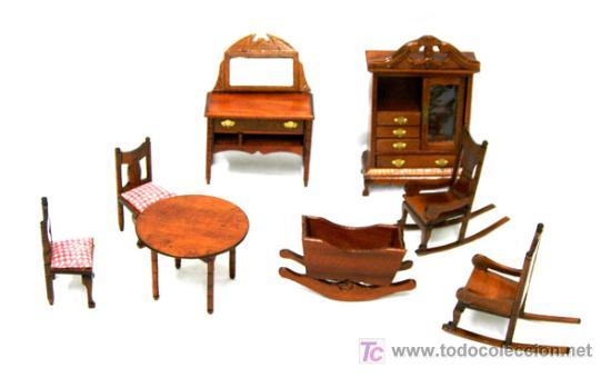 conjunto muebles madera para casa de muñecas ar - Comprar Casas de ...