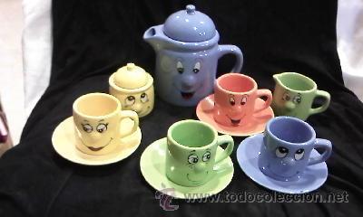 precioso y divertido juego de caf infantil en cermica colores caritas