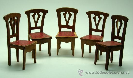 5 sillas comedor para casa muñecas años 20 made - Vendido en Venta ...