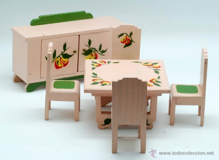 Conjunto muebles comedor madera denia etiqueta comprar casas de mu ecas mobiliarios y - Muebles en denia ...