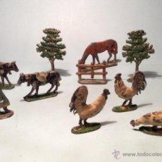 Casas de Muñecas: 10 FIGURAS PERSONAJE Y ANIMALES GRANJA EN PLOMO AÑOS 30, CASANELLES EULOGIO. Lote 40150248