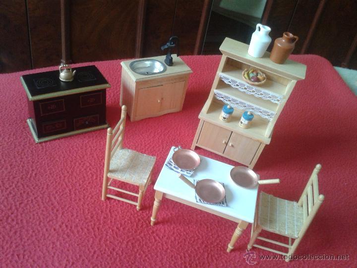 lote para casa de muecas muebles de cocina sillas hornilla mesa mueble fregadero cafetera y otros