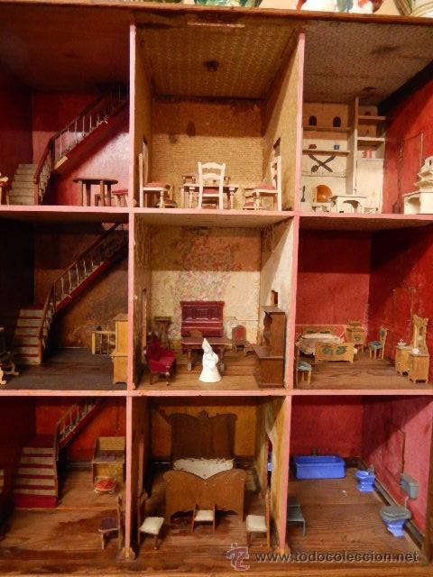 CASA DE MUÑECAS. JUGUETE ANTIGUO. SIGLO XIX / XX. CON ACCESORIOS (Juguetes - Casas de Muñecas, mobiliarios y complementos)