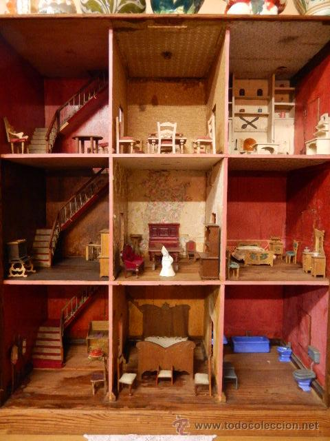 Casas de Muñecas: Casa de muñecas. Juguete antiguo. Siglo XIX / XX. Con accesorios - Foto 3 - 48619082