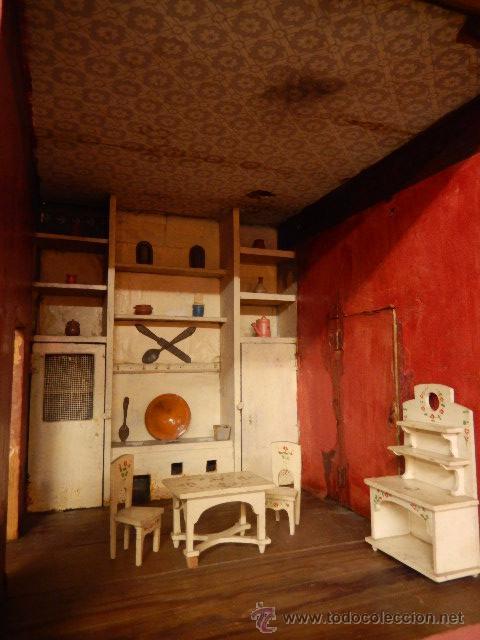 Casas de Muñecas: Casa de muñecas. Juguete antiguo. Siglo XIX / XX. Con accesorios - Foto 12 - 48619082