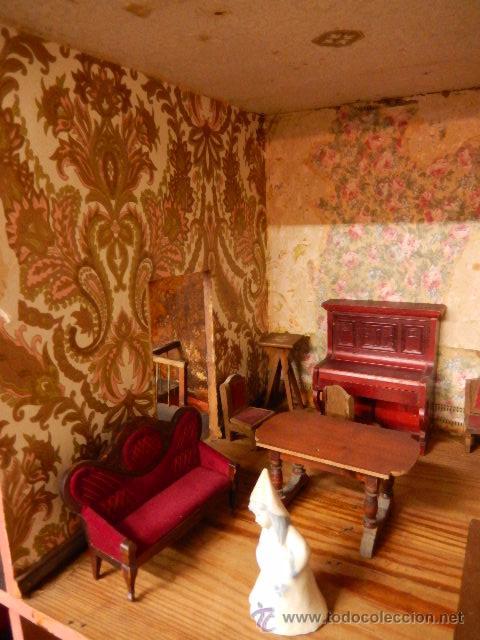 Casas de Muñecas: Casa de muñecas. Juguete antiguo. Siglo XIX / XX. Con accesorios - Foto 16 - 48619082