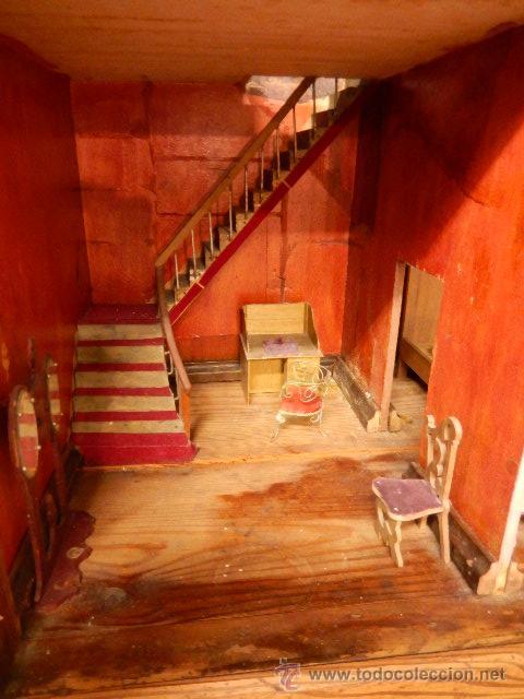 Casas de Muñecas: Casa de muñecas. Juguete antiguo. Siglo XIX / XX. Con accesorios - Foto 21 - 48619082