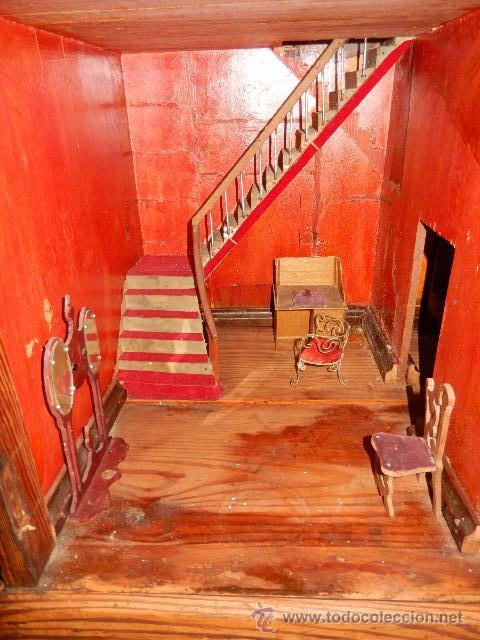 Casas de Muñecas: Casa de muñecas. Juguete antiguo. Siglo XIX / XX. Con accesorios - Foto 36 - 48619082