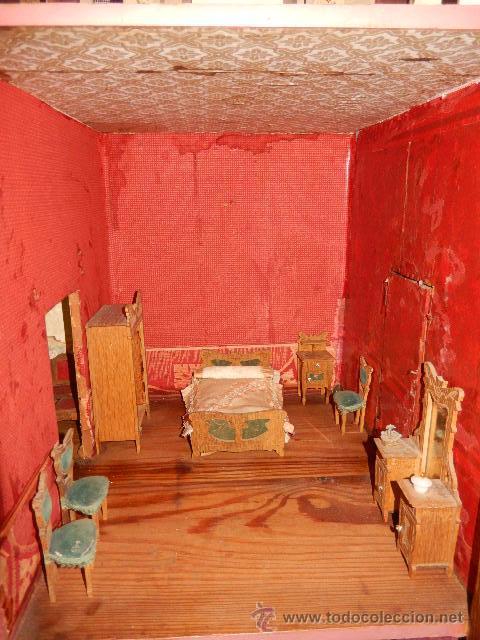 Casas de Muñecas: Casa de muñecas. Juguete antiguo. Siglo XIX / XX. Con accesorios - Foto 39 - 48619082