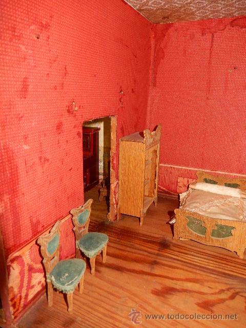Casas de Muñecas: Casa de muñecas. Juguete antiguo. Siglo XIX / XX. Con accesorios - Foto 53 - 48619082