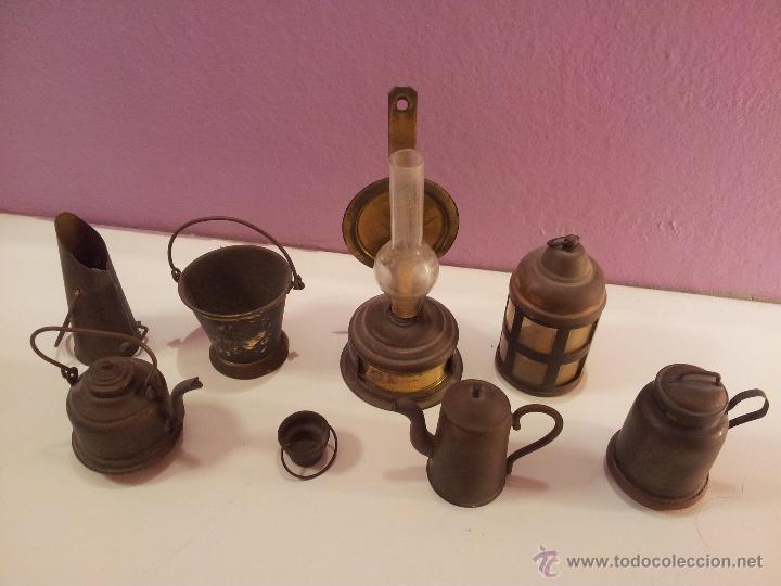 Lote antiguos accesorios complementos cobre min comprar - Accesorios para casa de munecas ...