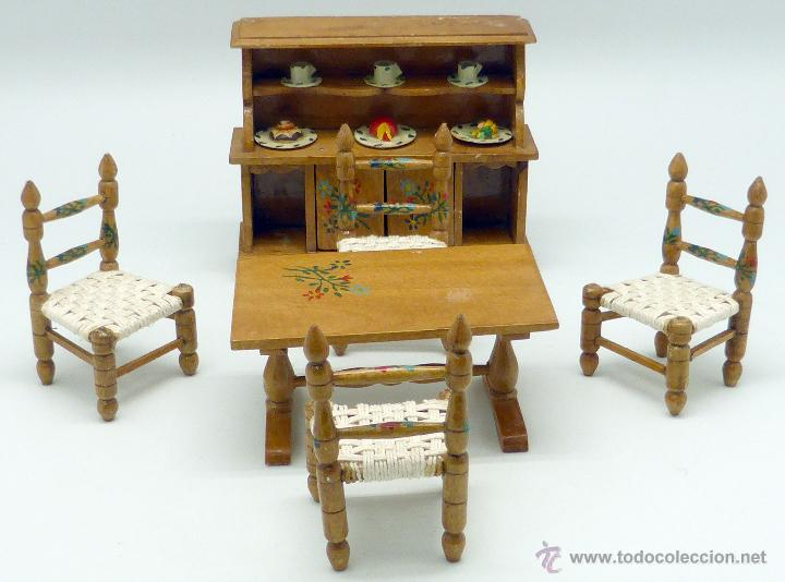 Conjunto comedor muebles casa muñecas Casa Pimbo aparador vajilla mesa y 4  sillas años 50 madera