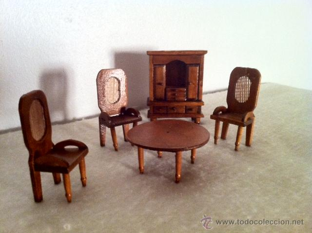 Antiguo Comedor miniatura, casa de muñecas, artesanal madera.