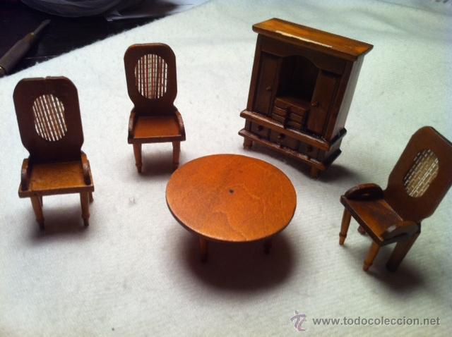 Casas de Muñecas: Antiguo Comedor miniatura, casa de muñecas, artesanal madera. - Foto 2 - 51317423