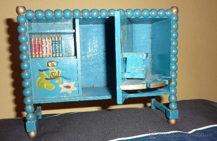 preciosa curiosa biblioteca casa muecas puerta giratoria y desplazable libros mueble bar madera