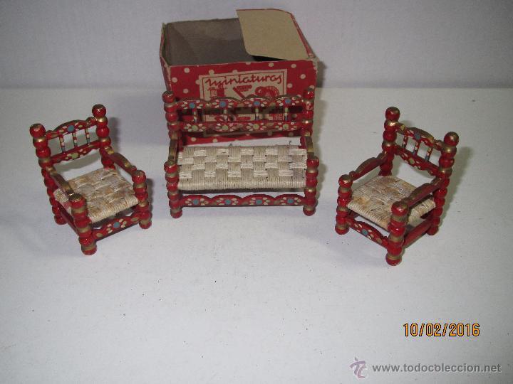 Antiguo tresillo de madera decorada a mano de l comprar casas de mu ecas mobiliarios y - La casa de mi tresillo ...