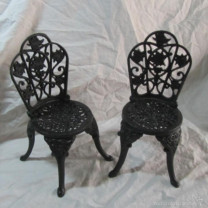 2 sillas de jard n negras de hierro fundido en comprar for Sillas hierro jardin
