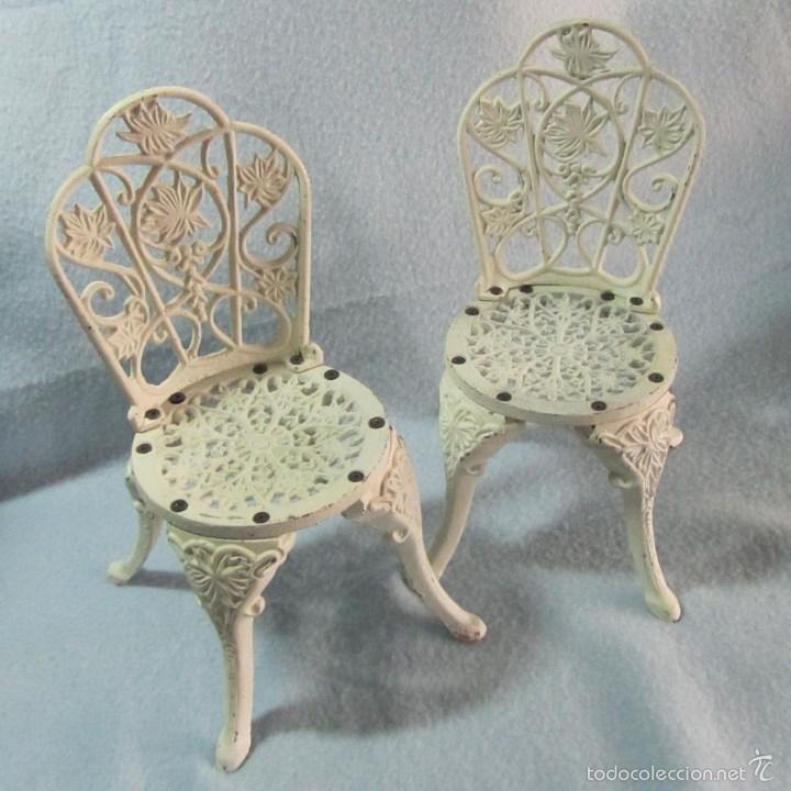 2 sillas de jard n blancas de hierro fundido en comprar for Sillas jardin blancas