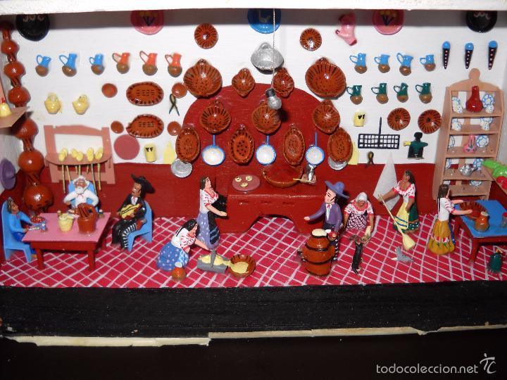 Casas de Muñecas: Antigua y preciosa escena con figuritas de barro.Andalucía o mexicana. - Foto 2 - 58652349