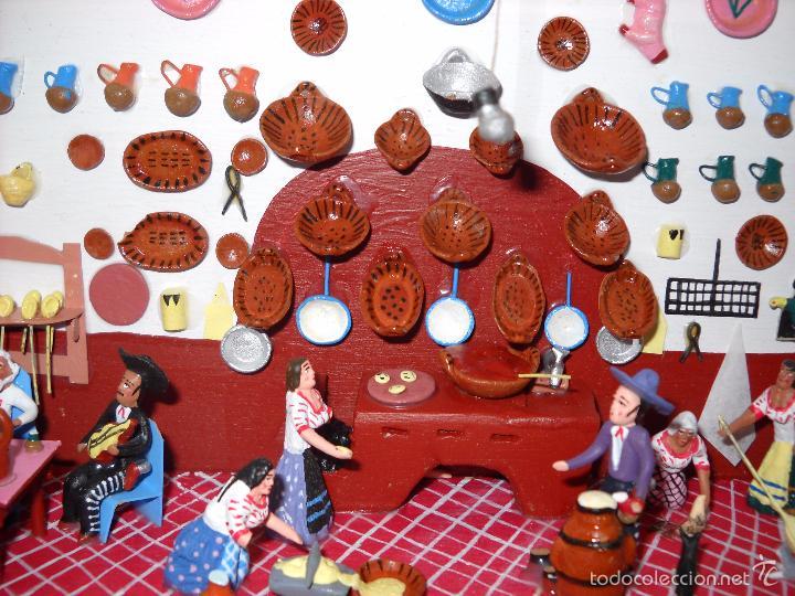 Casas de Muñecas: Antigua y preciosa escena con figuritas de barro.Andalucía o mexicana. - Foto 5 - 58652349