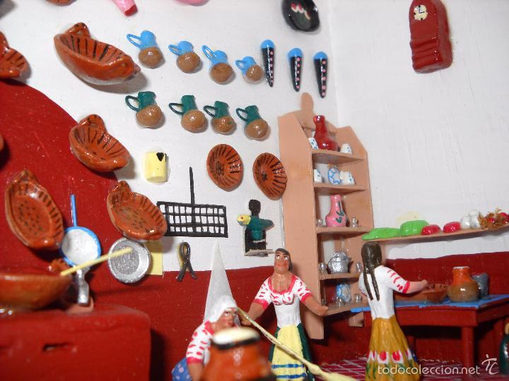 Casas de Muñecas: Antigua y preciosa escena con figuritas de barro.Andalucía o mexicana. - Foto 7 - 58652349