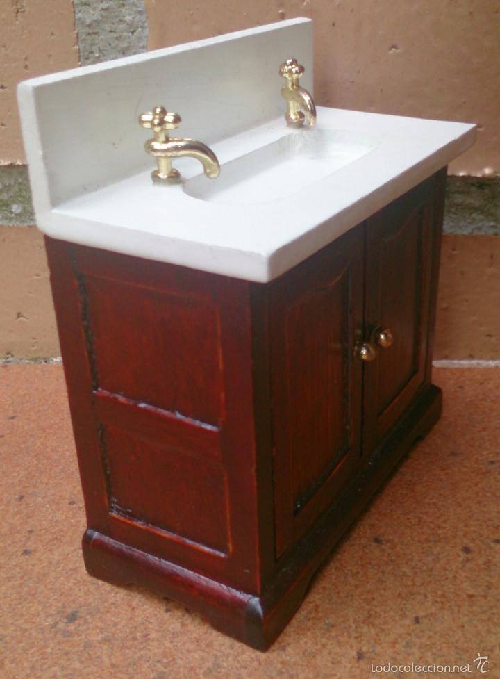 Casas de Muñecas: Muebles casa de muñecas, lavamanos baño madera - Foto 2 - 79630207