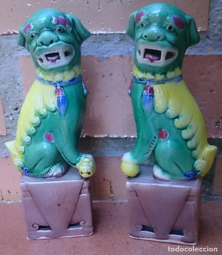 Casas de Muñecas: Pareja de perros Foo de porcelana, tamaño casa de muñecas - Foto 2 - 64143767