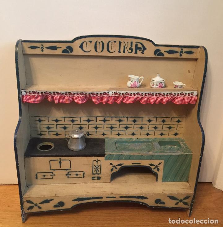 Preciosa y antigua cocina de juguete de madera comprar for Cocina juguete segunda mano