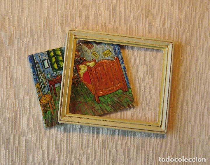 Casas de Muñecas: Cuadro miniatura al óleo pintado a mano. Casas de Muñecas. Habitación de Vincent en Arlés. Van Gogh - Foto 3 - 65259251