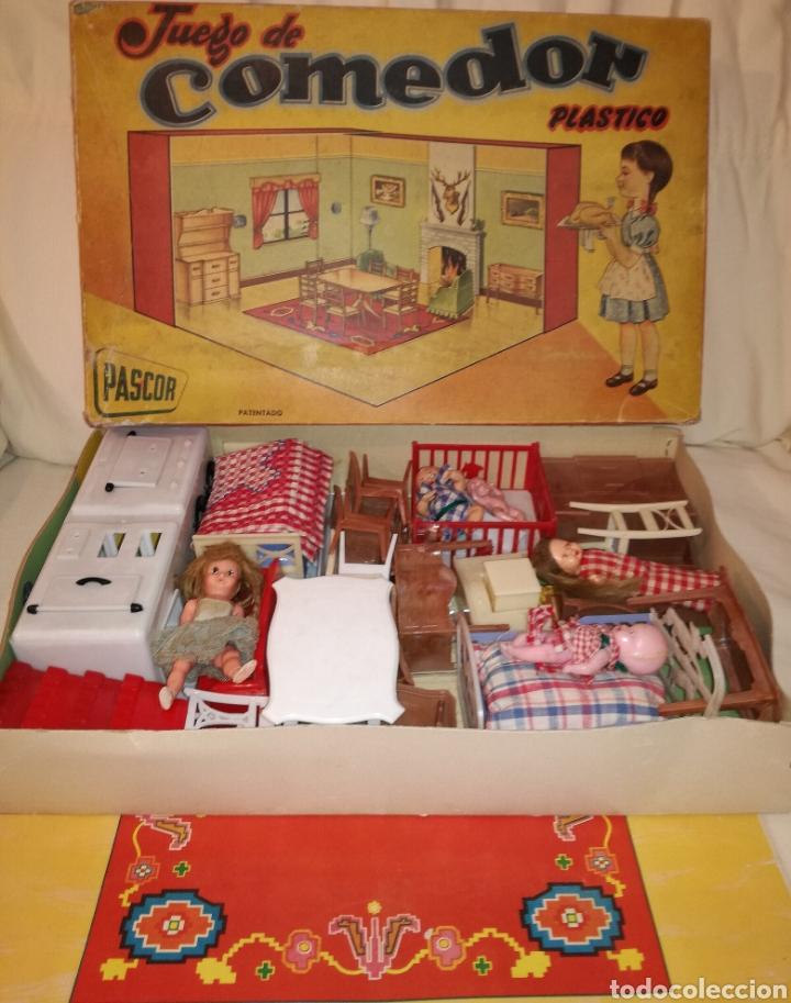 COMEDOR CON COCINA,DORMITORIO Y MUÑECAS PASCOR AÑOS 50 (Juguetes - Casas de Muñecas, mobiliarios y complementos)