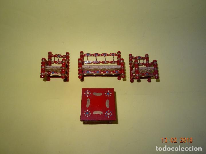 Casas de Muñecas: Antiguo Conjunto de Tresillo con Cojines de Casa de Muñecas - Foto 4 - 112572687