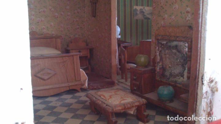 Casas de Muñecas: Casa de muñecas con mobiliario original, años 30/40. 77x51x79cm - Foto 12 - 115860559