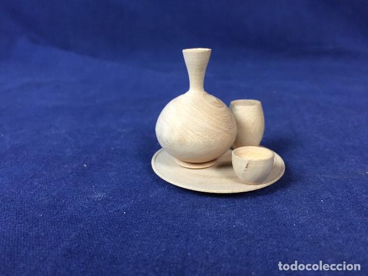 Casas de Muñecas: pequeño conjunto casa de muñecas en madera torneada plato vaso cuenco jarra ppio s XX - Foto 10 - 130171615