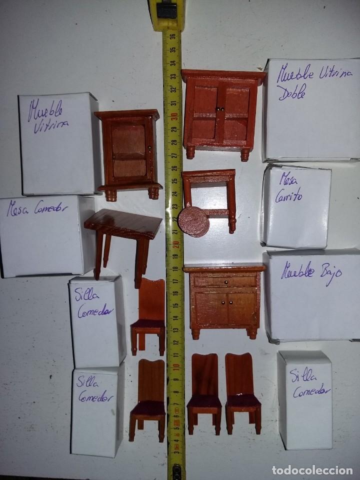 lote de muebles de madera pintados en miniatura para casa de muñecas salon  comedor completo
