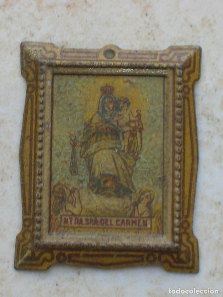 ANTIGUO CUADRO DE NTRA.SRA DEL CARMEN.FABRICADO EN HOJALATA, PARA CASA DE MUÑECAS.1900 (Juguetes - Casas de Muñecas, mobiliarios y complementos)