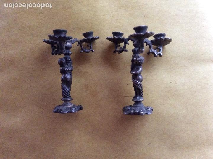 Casas de Muñecas: Candelabros antiguos escala 1:12 metálicos con filigranas.4cm. - Foto 4 - 138787534