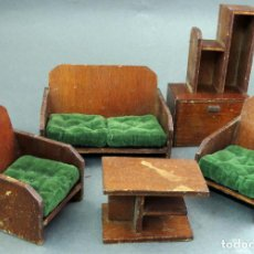 Doll houses - Salón Art Decó para casa muñecas años 40 - 50 mesa estantería sofá y dos butacas - 142068662