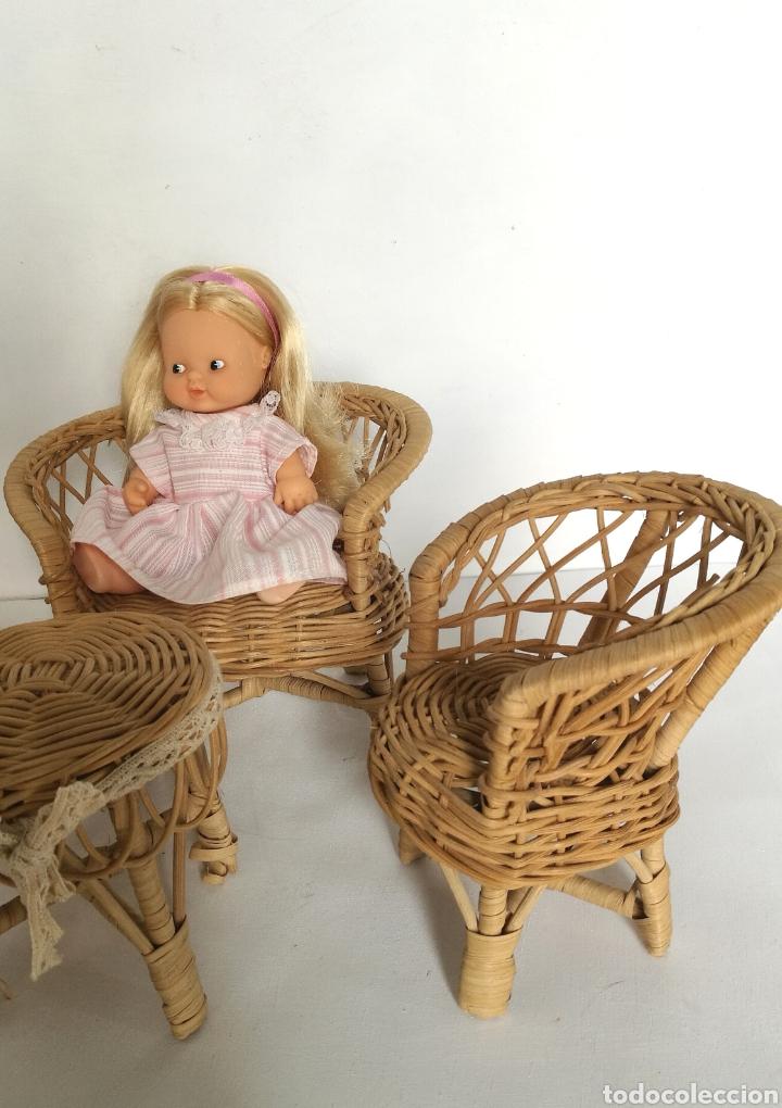 Casas de Muñecas: Muebles mimbre válidos para Barriguita, casa de muñecas, sillas sofa mesa - Foto 3 - 146584654