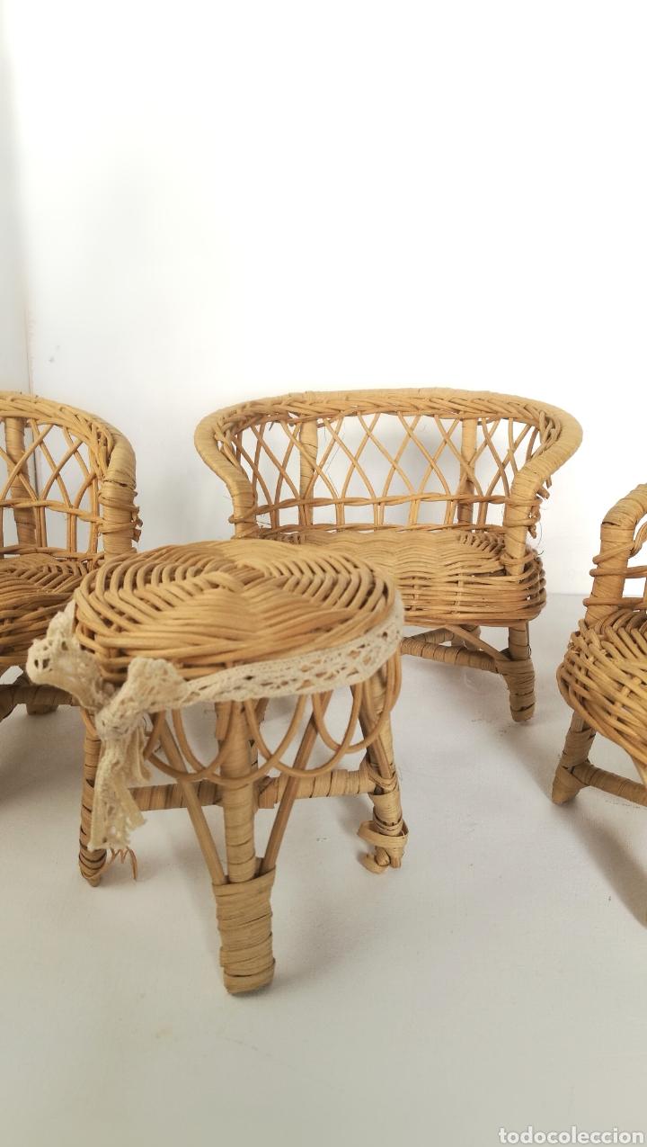 Casas de Muñecas: Muebles mimbre válidos para Barriguita, casa de muñecas, sillas sofa mesa - Foto 6 - 146584654