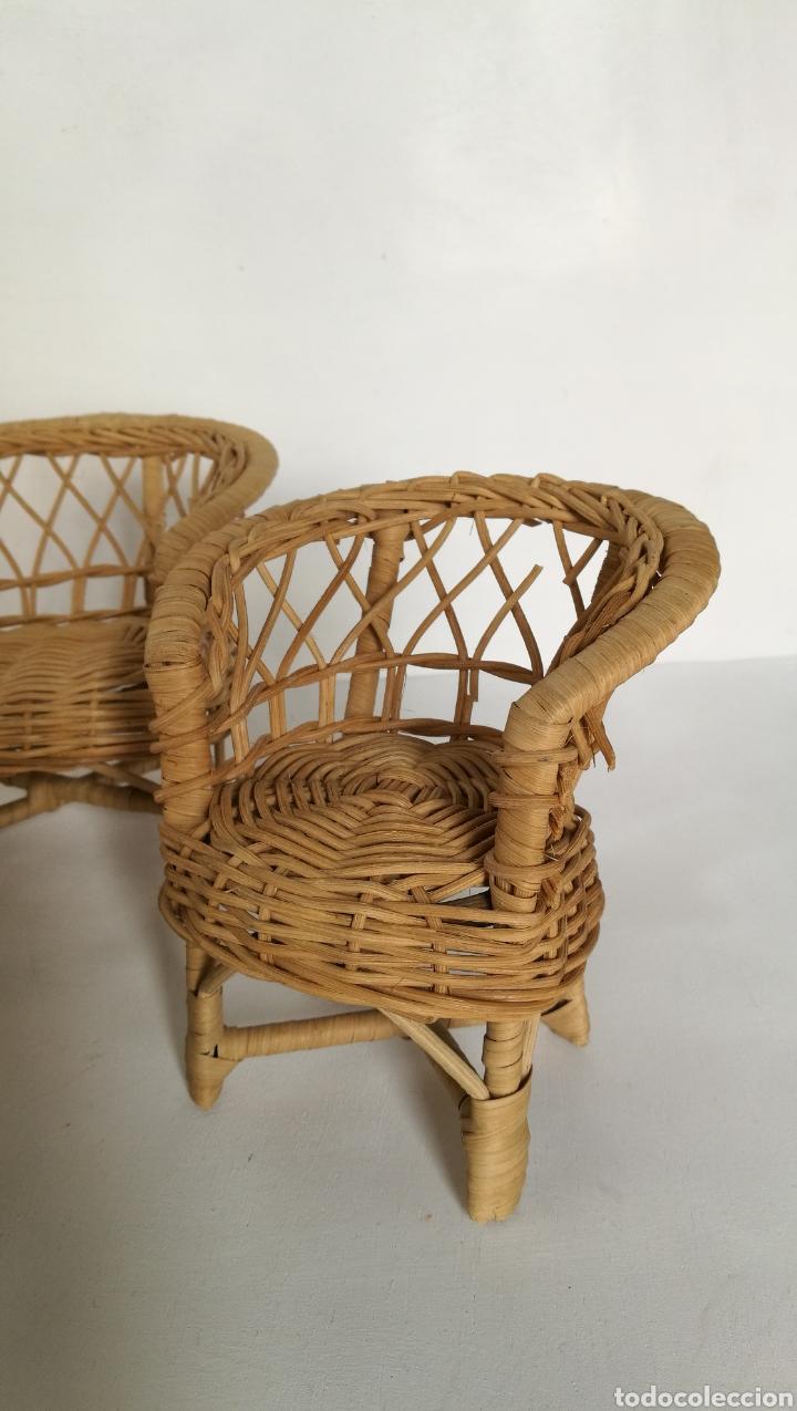 Casas de Muñecas: Muebles mimbre válidos para Barriguita, casa de muñecas, sillas sofa mesa - Foto 7 - 146584654