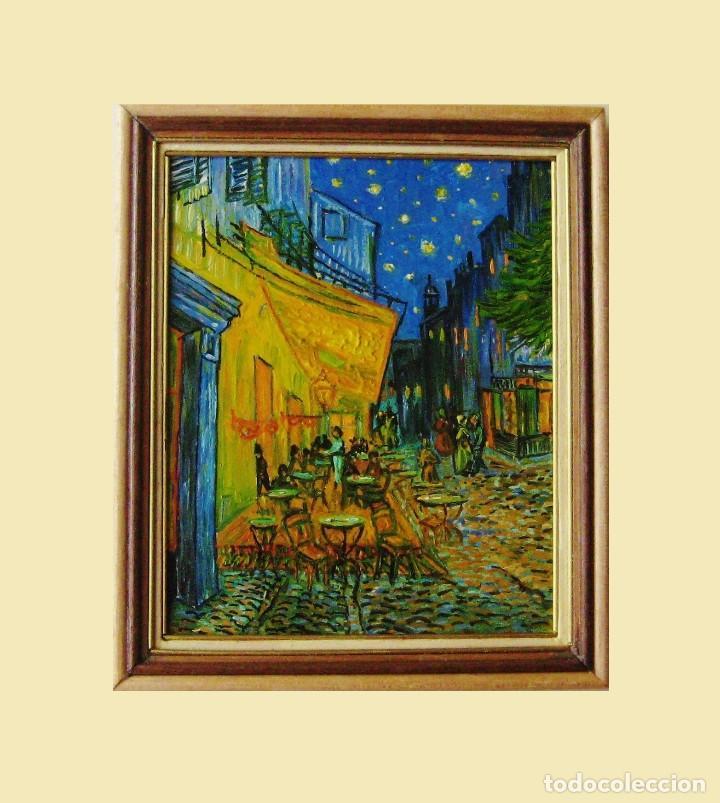 Cuadro Miniatura Al óleo Pintado A Mano Casa De Muñecas Terraza Café De Arlés Van Gogh